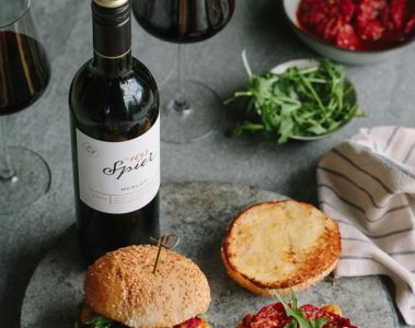 Grilled halloumi and mushroom burgers, with Spier Signature Merlot